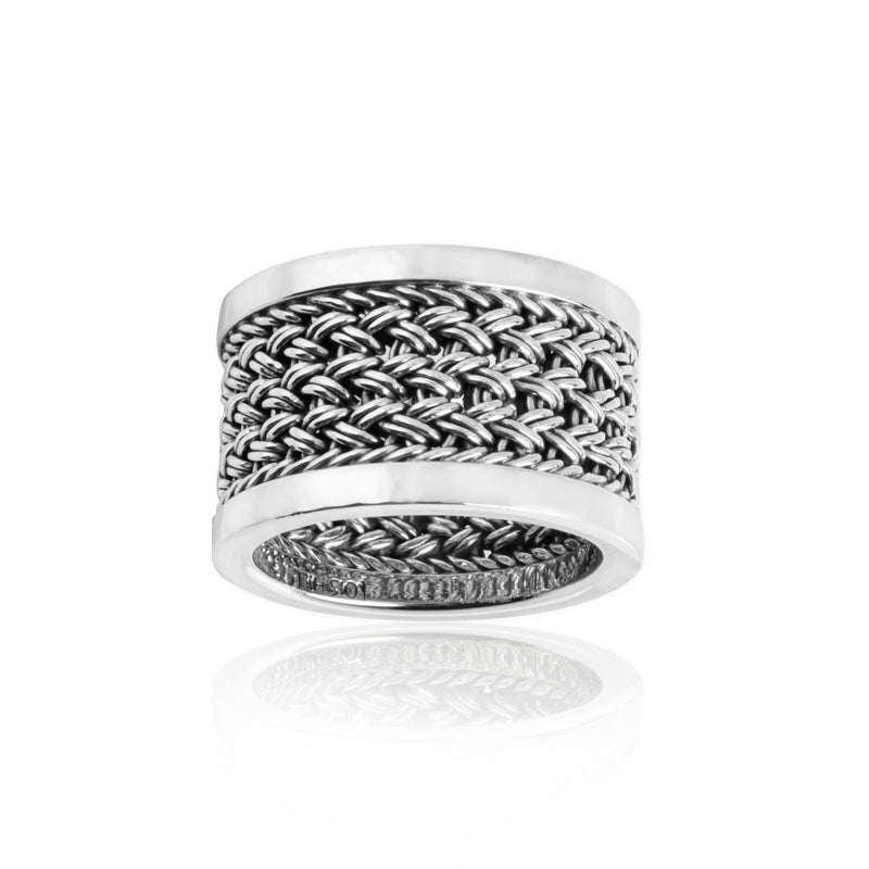 Classic Textile Weave Band Ring