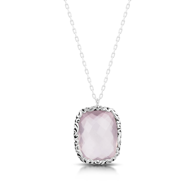 "Classic Signature Scroll with Rectangle Rose Quartz Pendant on 18"" Chain Necklace - Lois Hill Jewelry"