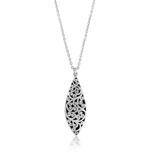 Classic Signature Cutout & Granulated Long Teardrop Pendant - Lois Hill Jewelry
