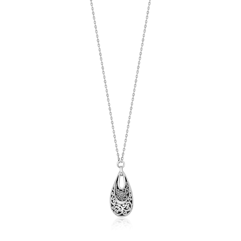 "Open Teardrop Classic Signature Scroll w/Granulated Pendant. Pendant 2mm X 19mm 16"" chain"