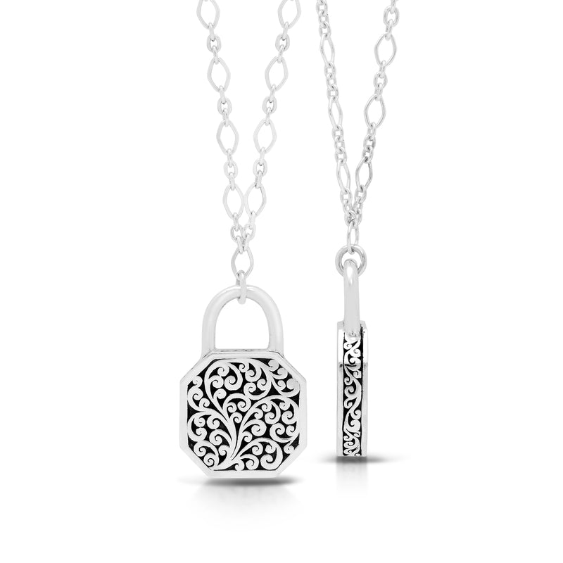 Classic Signature Scroll Double-Sided Padlock Pendant Necklace