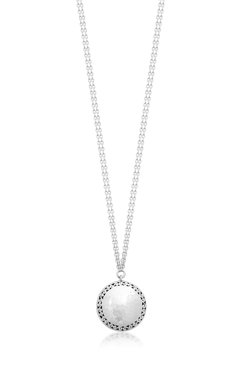 Classic Signature Scroll Dbl Sided Round Pendant Necklace