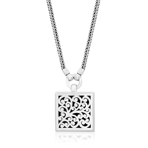 Classic Signature scroll pendant, woven chain