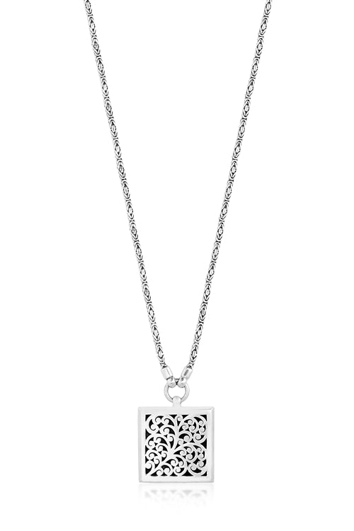 Classic signature scroll pendant, box weave chain