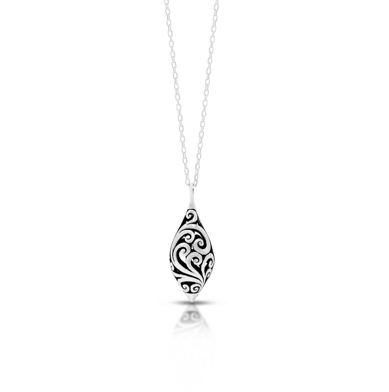 "LH Classic Signature Open Scroll Lantern Teardrop Pendant Necklace (10*23mm. 18"" Adjustable Chain)"