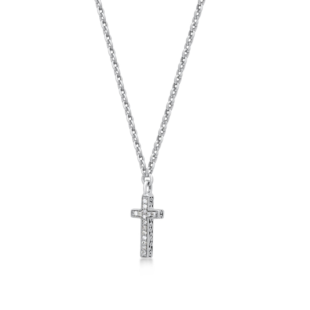White Diamond Sterling Silver LH Signature Scroll Cross Pendant Necklace on Adjustable Chain - Lois Hill Jewelry