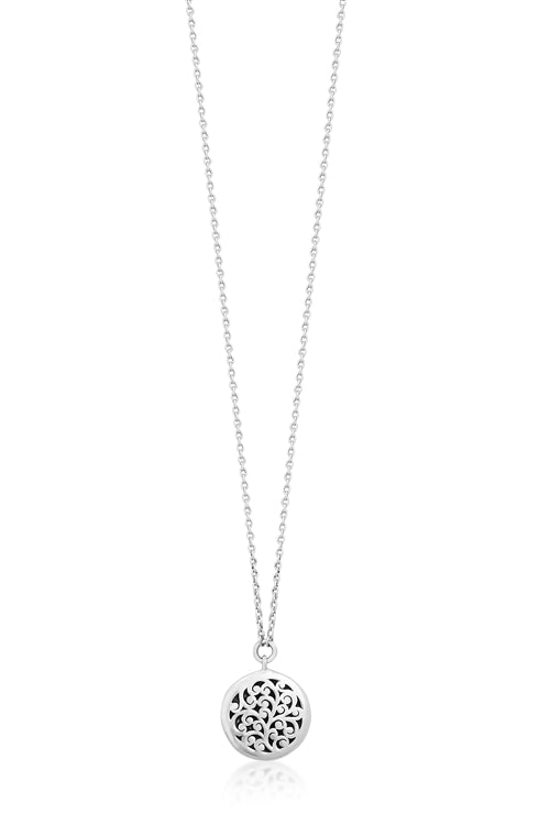 Classic Signature Scroll Round Pendant Necklace