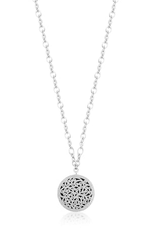 Classic Med Reversible Carved Scroll Round Pendant