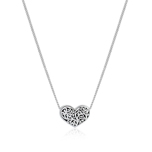 Small Classic Signature Scroll Heart Pendant - Lois Hill Jewelry