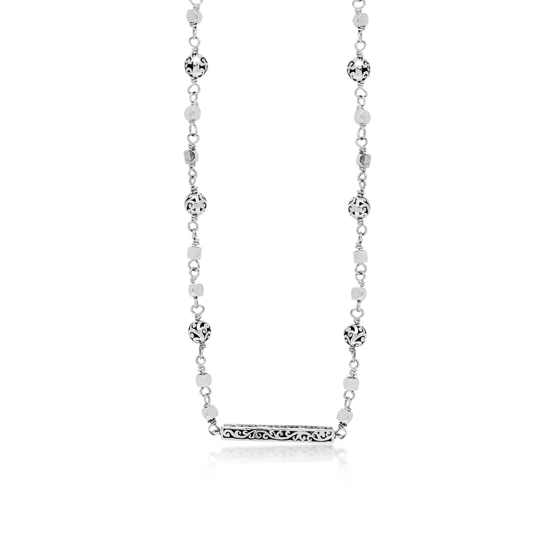 Classic Signature Scroll Ball Station Chain with Scroll Bar Pendant Necklace. 20mm x 2mm Pendant on 14'' Chain Length