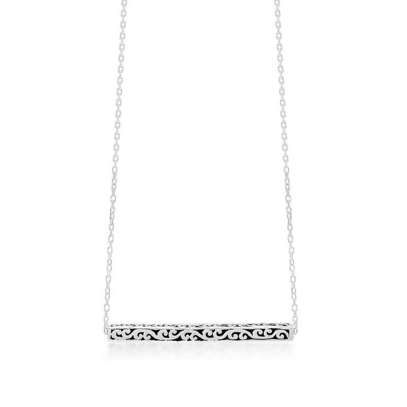 Medium Scroll Bar Pendant Necklace - Lois Hill Jewelry