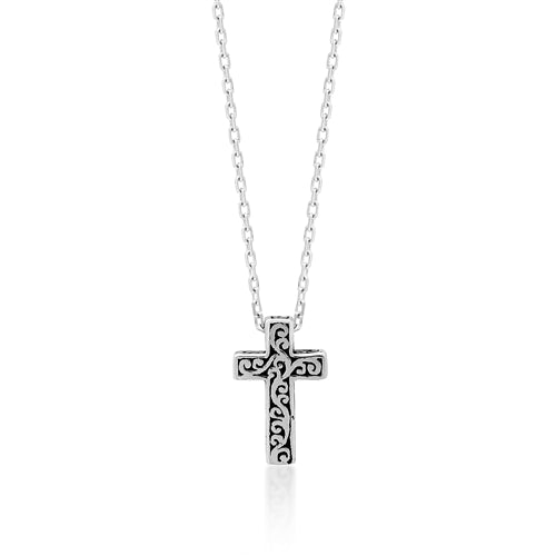 "LH Signature Scroll Sterling Silver Delicate Cross Pendant Necklace in 18"" Adjustable Chain.  Pendant Size 8mm - Lois Hill Jewelry"