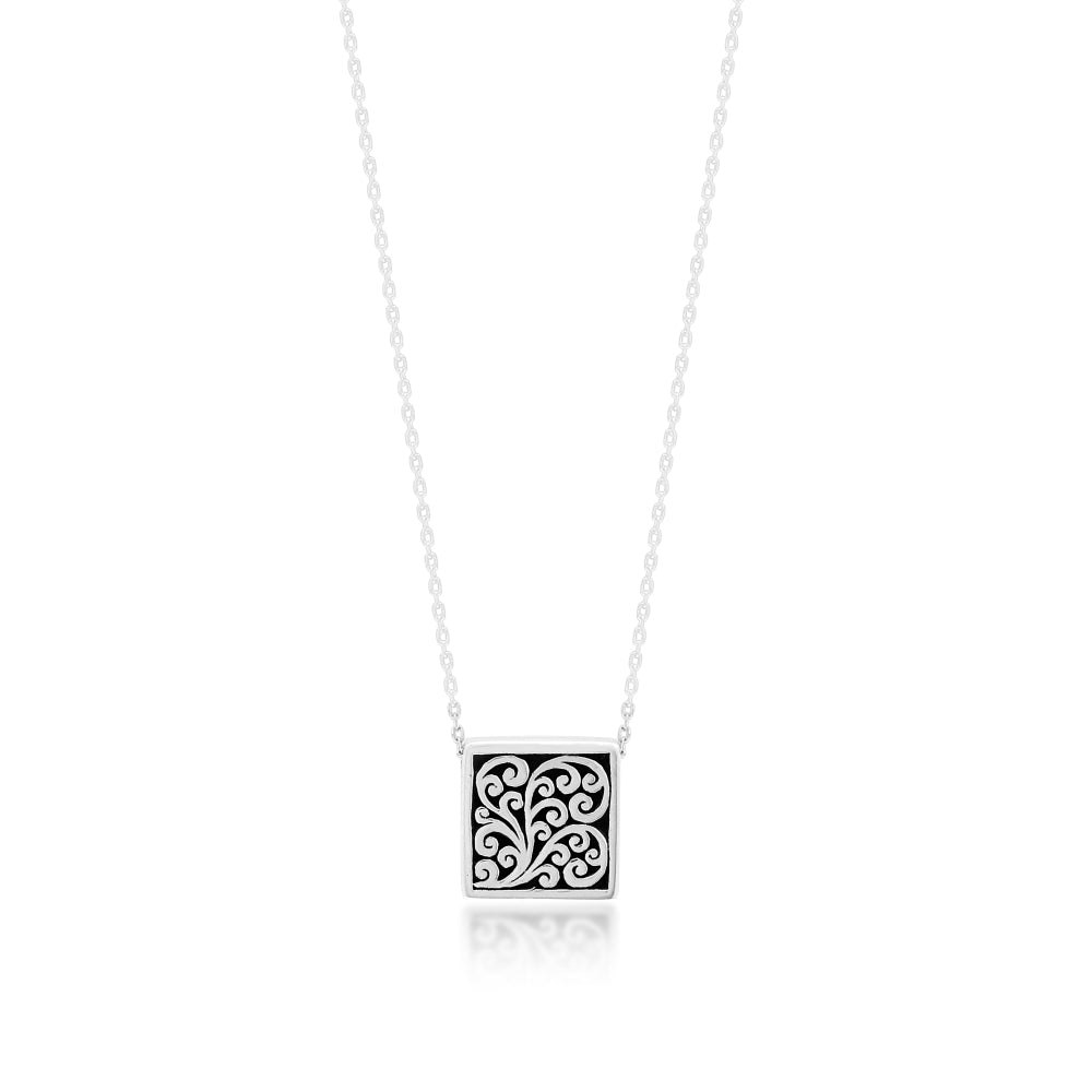 "LH Signature Scroll Sterling Silver Square Block Pendant Necklace in 18"" Adjustable Chain,  Pendant size 13mm - Lois Hill Jewelry"