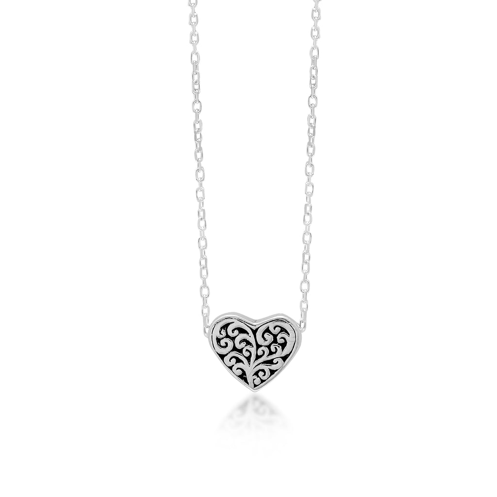 "LH Sterling Silver Signature Scroll Heart Pendant Necklace in 18"" Adjustable Chain. Pendant Size 10mm - Lois Hill Jewelry"