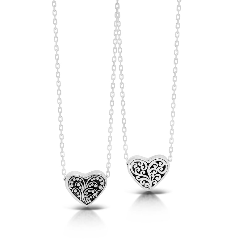 LH Sterling Silver Reversible Signature Scroll and Granulation Heart Pendant Necklace