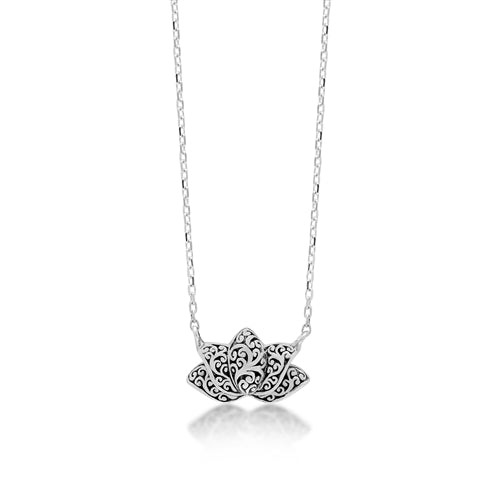 "LH Signature Scroll Sterling Silver Delicate Lotus Pendant Necklace in 18"" Adjustable Chain.  Pendant Size 14mm - Lois Hill Jewelry"