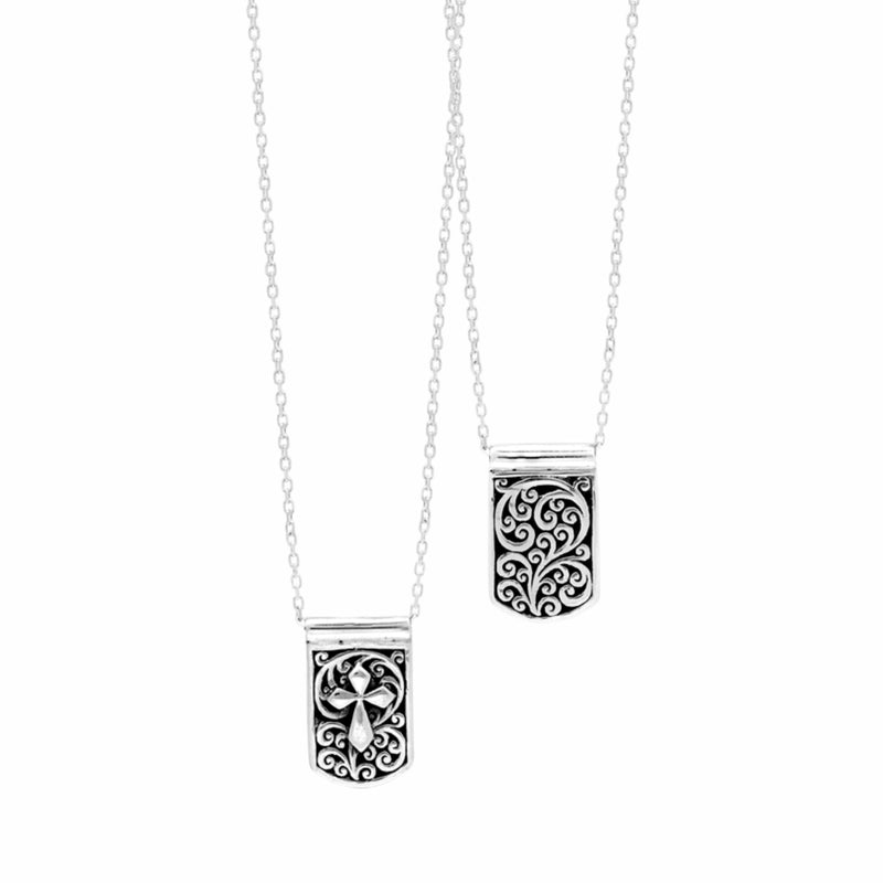 Signature Scroll IDtag with Cross-Sign Accents Pendant Reversible Sterling Silver Necklace. 10mm x 17mm Pendant on 18'' Chain