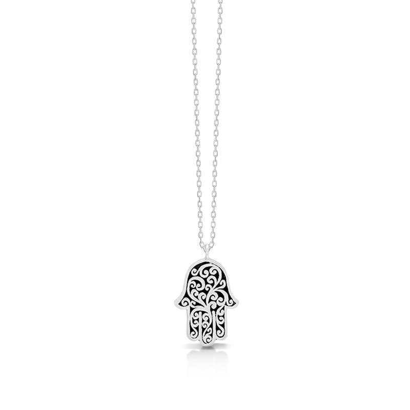 "LH Signature Scroll Sterling Silver Delicate Hamsa Pendant Necklace in 18"" Adjustable Chain.  Pendant size 17 by 11 mm - Lois Hill Jewelry"