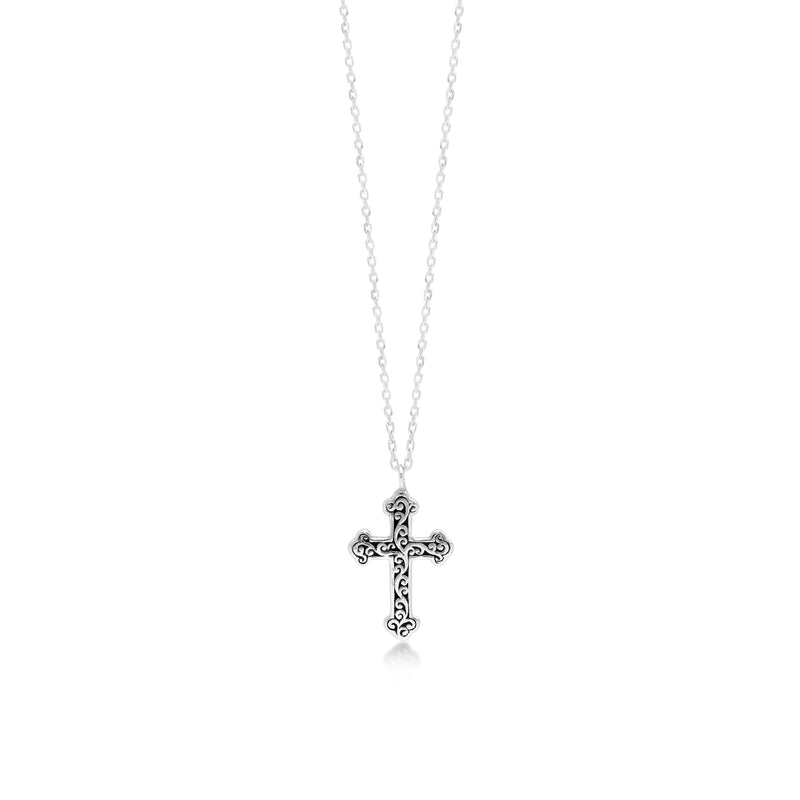 "LH Signature Scroll Sterling Silver Delicate Cross Pendant Necklace in 18"" Adjustable Chain.  Pendant Size 12mm - Lois Hill Jewelry"