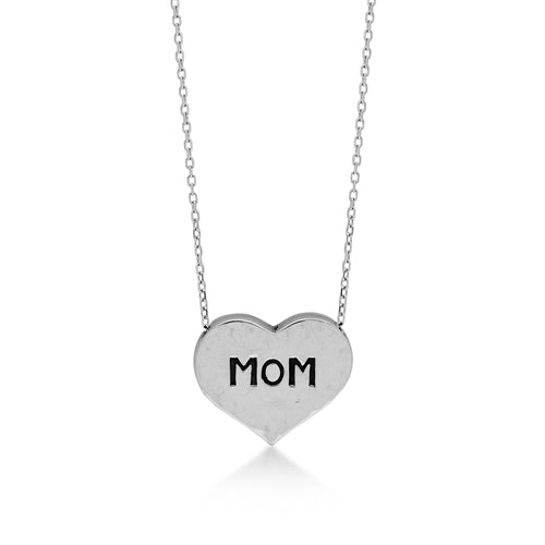 "Handcarved ""Mom"" Heart Necklace - Lois Hill Jewelry"