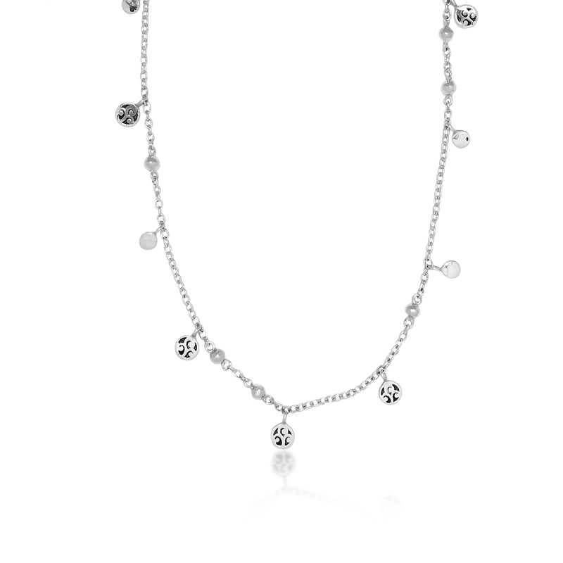 Signature Scroll and Hammered Disc Chain Necklace. 38'' Chain