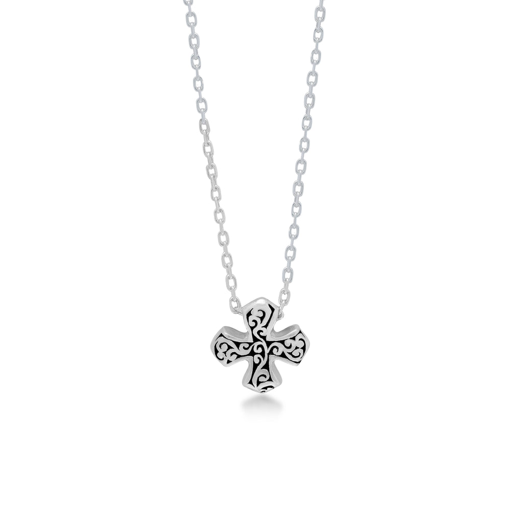 "LH Signature Scroll Sterling Silver Delicate Cross Pendant Necklace in 18"" Adjustable Chain.  Pendant size 10mm - Lois Hill Jewelry"