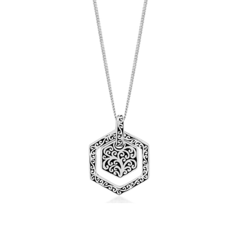 Layered Hexagon Classic Signature Scroll Pendant