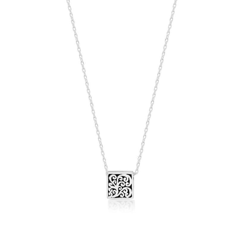 "LH Signature Scroll Sterling Silver Delicate Tiny Square Block Pendant Necklace in 18"" Adjustable Chain,  Pendant size 8 mm - Lois Hill Jewelry"