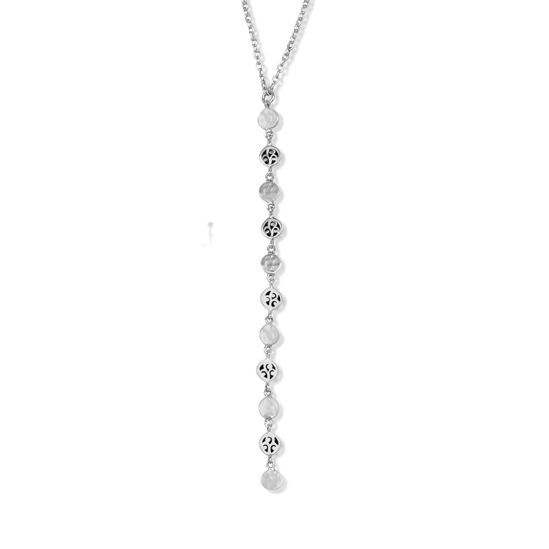 Classic Signature Scroll Disc Chain Link Drop Necklace
