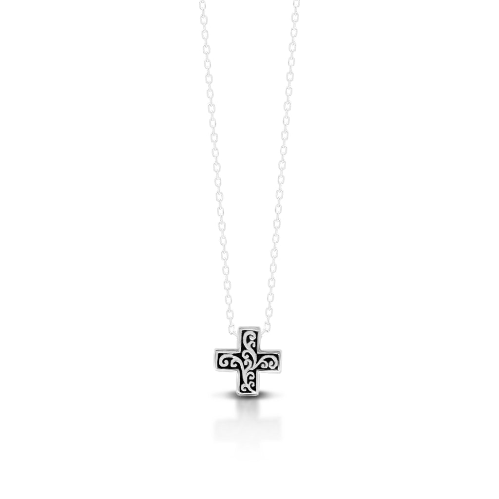 "LH Signature Scroll Sterling Silver Delicate Cross Pendant Necklace in 18"" Adjustable Chain.  Pendant size 9 mm - Lois Hill Jewelry"