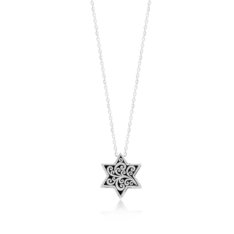"LH Signature Scroll Sterling Silver Delicate Star Pendant Necklace in 18"" Adjustable Chain.  Pendant size 15 mm - Lois Hill Jewelry"
