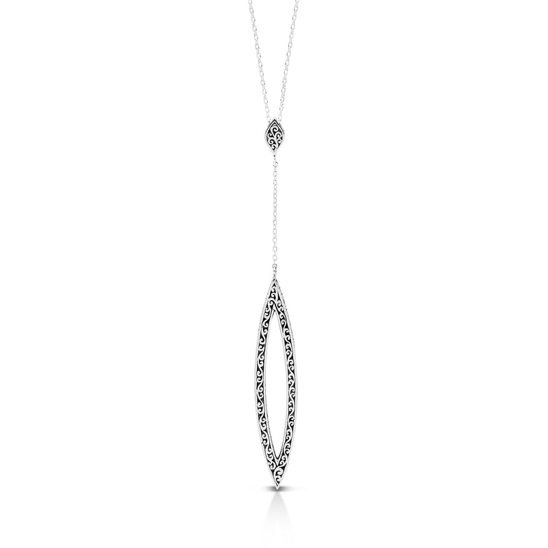 Open Scroll Elongated Lariat Necklace
