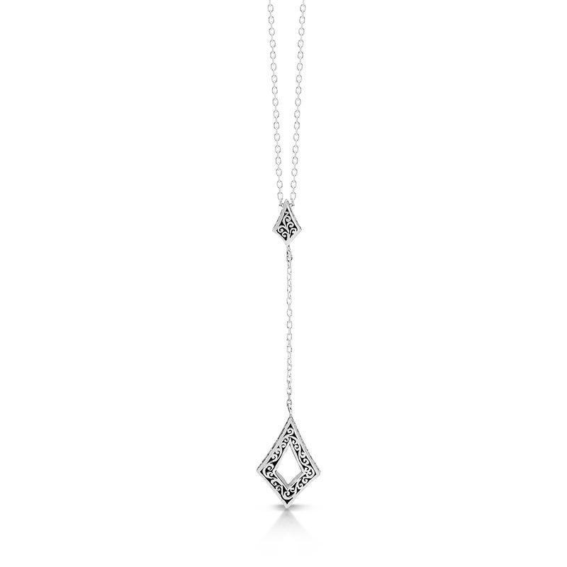 Extra Small Open Scroll Elongated Diamond Lariat Necklace