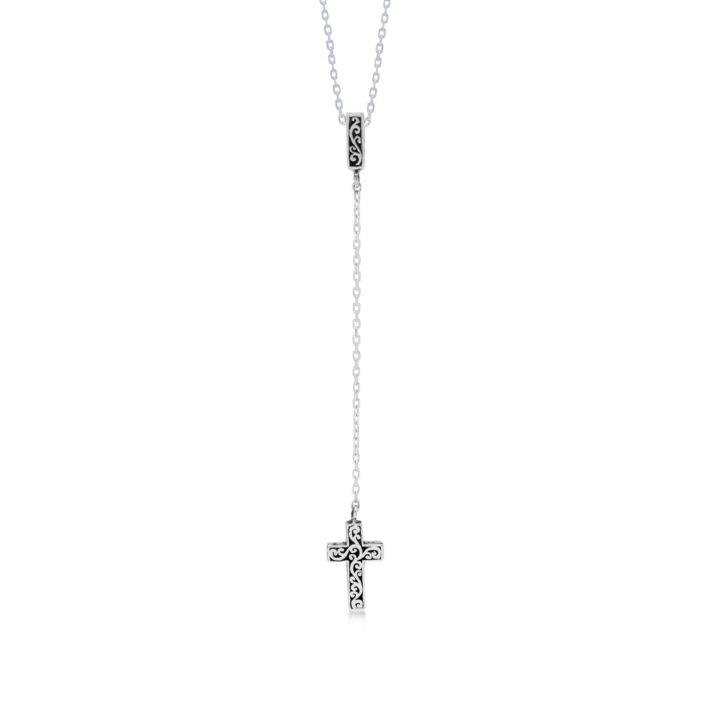 "LH Signature Scroll Sterling Silver Delicate Cross Lariat Pendant Necklace in 18"" Adjustable Chain.  Pendant size 8mm - Lois Hill Jewelry"