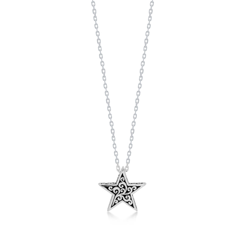 "LH Signature Scroll Sterling Silver Delicate Tiny Star Pendant Necklace in 18"" Adjustable Chain.  Pendant size 13mm - Lois Hill Jewelry"