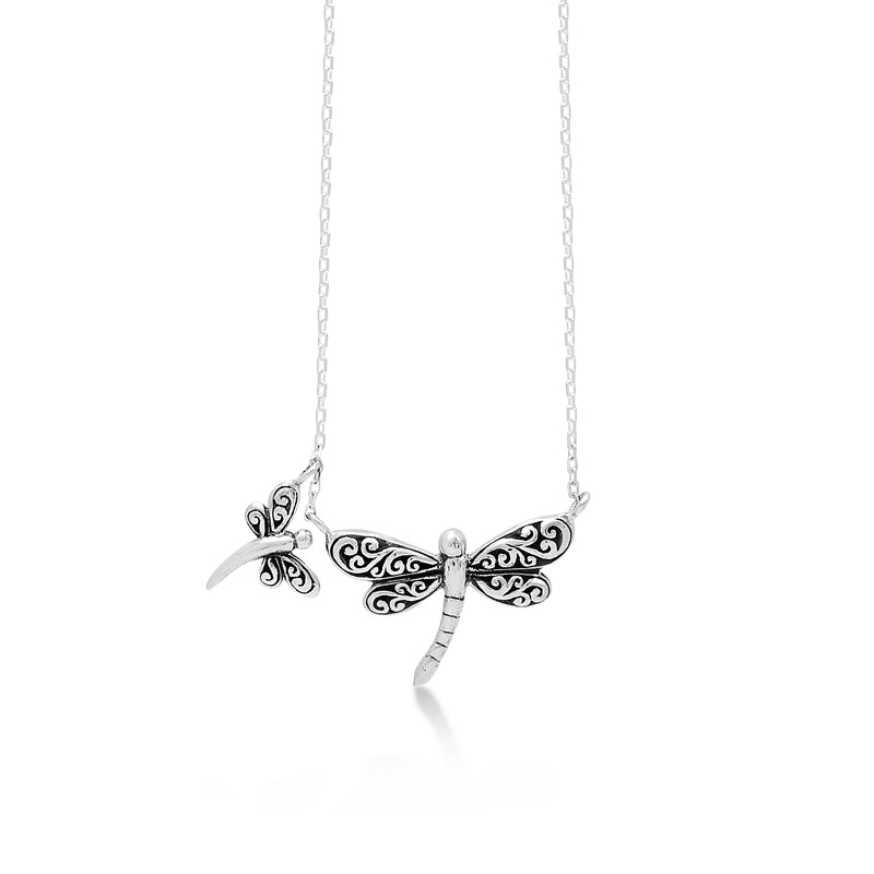 "LH Signature Scroll Sterling Silver Delicate Double Dragonflies Pendant Necklace in 18"" Adjustable Chain.  Pendant Size 16mm - Lois Hill Jewelry"