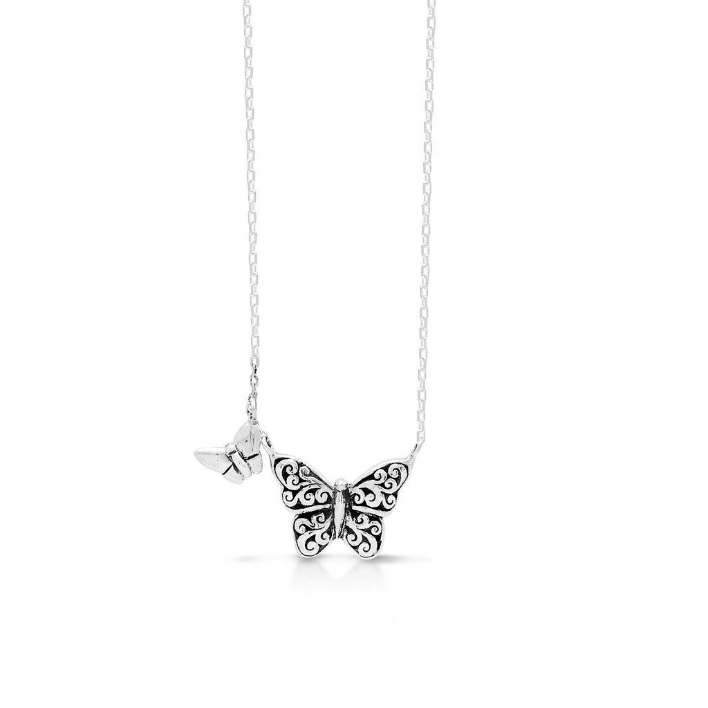 "LH Signature Scroll Sterling Silver Delicate Double Butterflies Pendant Necklace in 18"" Adjustable Chain.  Pendant Size 11 mm - Lois Hill Jewelry"