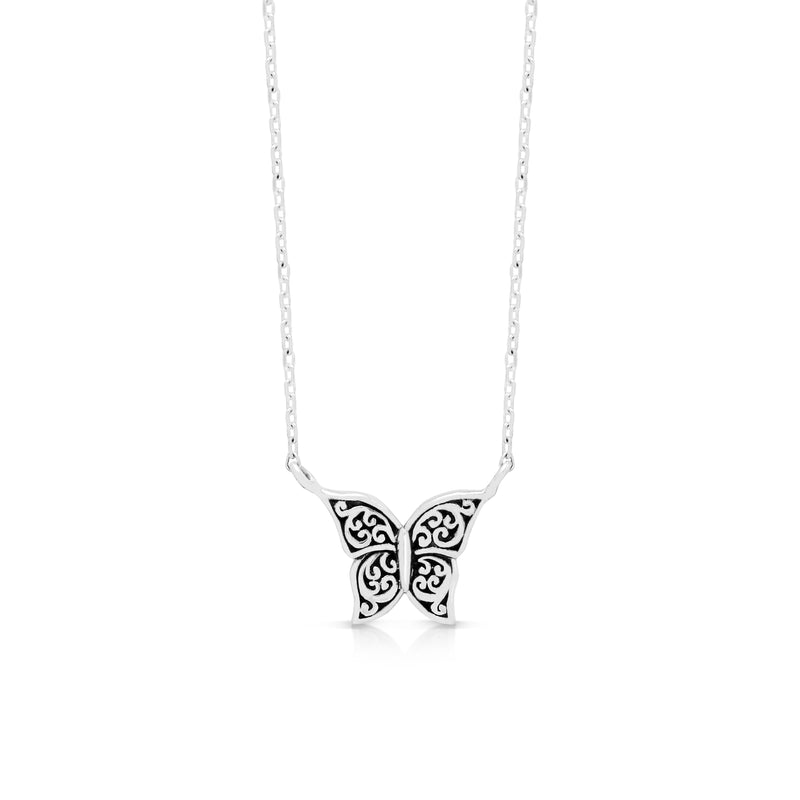 "LH Signature Scroll Sterling Silver Delicate Butterfly Pendant Necklace in 18"" Adjustable Chain.  Pendant Size 8 mm - Lois Hill Jewelry"