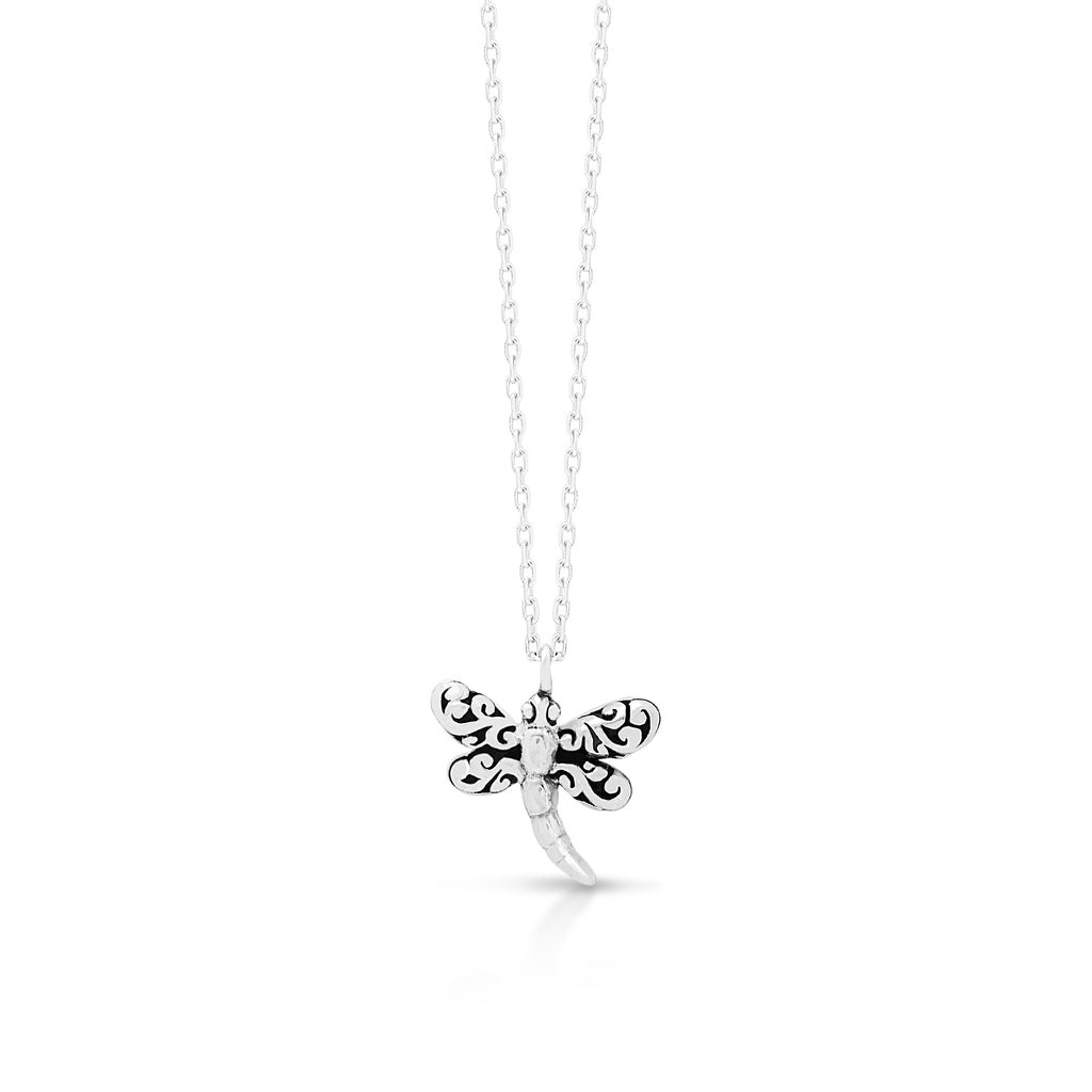"LH Signature Scroll Sterling Silver Delicate Small Dragonfly Pendant Necklace in 18"" Adjustable Chain.  Pendant size 9mm - Lois Hill Jewelry"