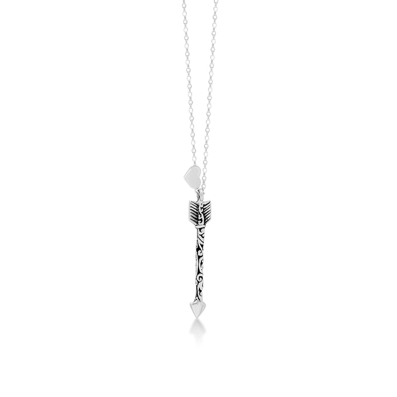 "LH Signature Scroll Sterling Silver Delicate Arrow Pendant Necklace in 18"" Adjustable Chain.  Pendant Size 28mm - Lois Hill Jewelry"
