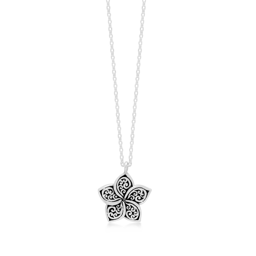 "LH Signature Scroll Sterling Silver Delicate Floral Pendant Necklace in 18"" Adjustable Chain.  Pendant Size 9mm - Lois Hill Jewelry"