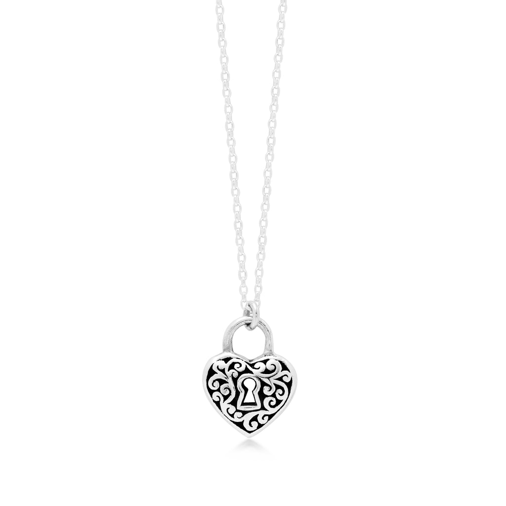 "LH Signature Scroll Sterling Silver Delicate Heart PadLock Pendant Necklace in 18"" Adjustable Chain. Pendant Size 11mm - Lois Hill Jewelry"