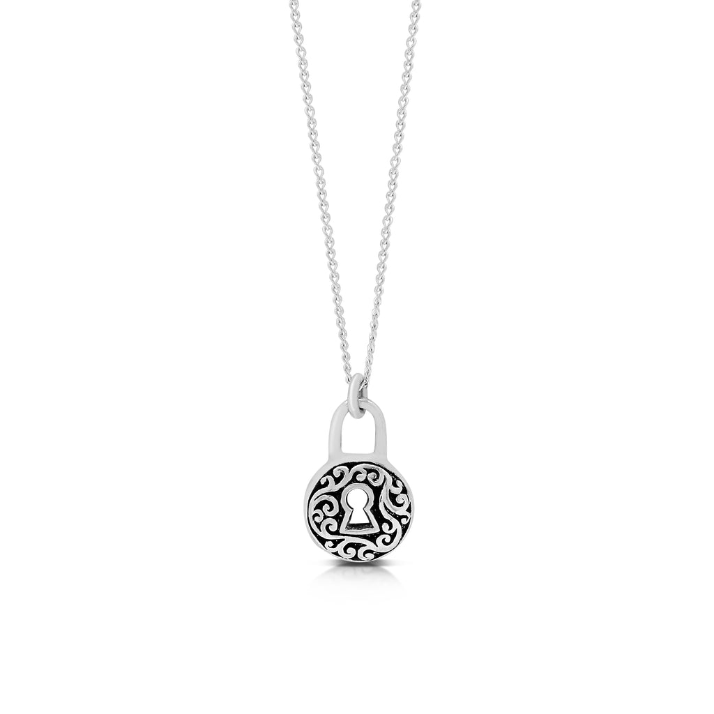 "LH Signature Scroll Sterling Silver Delicate Round Padlock Pendant Necklace in 18"" Adjustable Chain.   Pendant size 9mm - Lois Hill Jewelry"