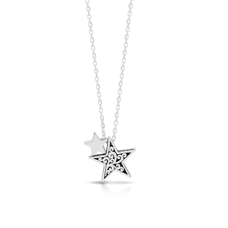"LH Signature Scroll Sterling Silver Delicate Double Stars Pendant Necklace in 18"" Adjustable Chain.  Pendant size 13mm - Lois Hill Jewelry"