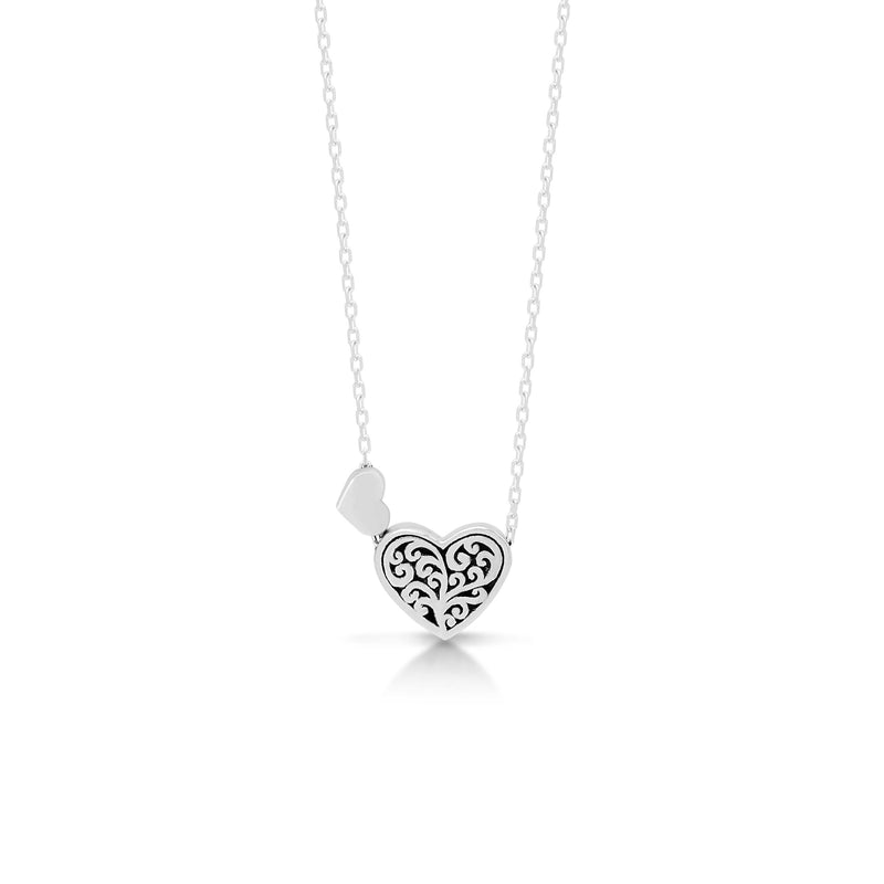 "LH Signature Scroll Sterling Silver Delicate Twin Heart Pendant Necklace in 18"" Adjustable Chain.  Pendant Size 11mm - Lois Hill Jewelry"
