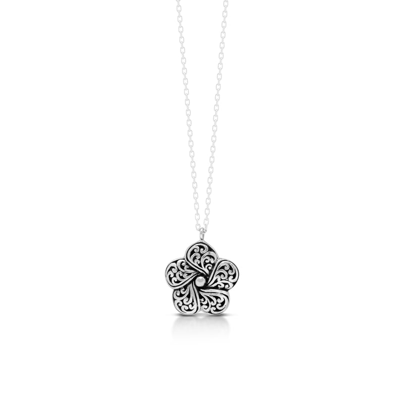 "LH Signature Scroll Sterling Silver Delicate Flower Pendant Necklace in 18"" Adjustable Chain.  Pendant Size 15mm - Lois Hill Jewelry"