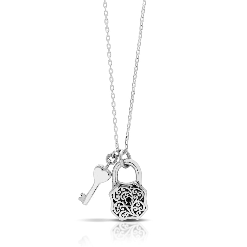 Classic Signature Scroll Stylised Padlock Pendant with Hanging Key Necklace