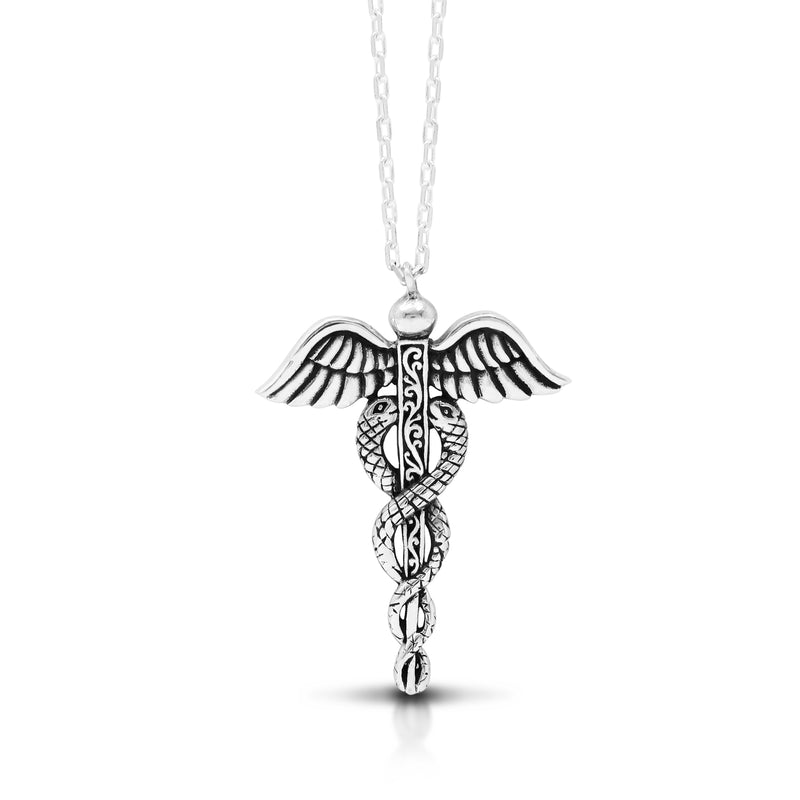 "Classic Signature Scroll Caduceus Pendant Necklace (27mm x 34mm. 18"" Adjustable Chain)"