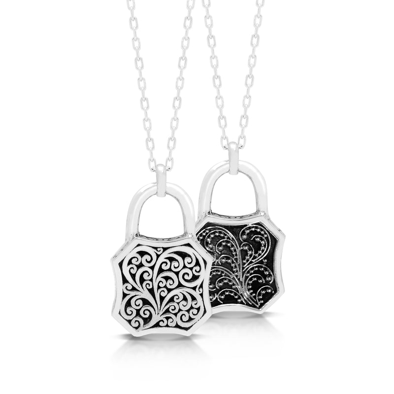 Classic Signature Scroll with Granulated Filigree Sided Padlock Pendant Necklace