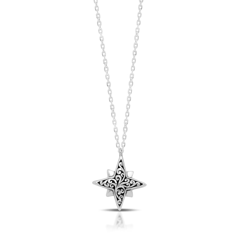 Classic Signature Scroll Star-Bright Pendant Necklace. 16mm Pendant